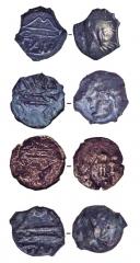 Находки. Бронзовые боспорские монеты второй половины III в. до н.э. Высокооловянистые — темные, медные — красноватого оттенка.