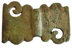 Находки со стоянки Кода 3: бляшка из бронзы.