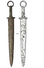 Находки из могильника. Железный меч с прямым перекрестьем и кольцевым навершием. Курган 3, погр. 1.