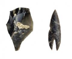 Находки с поселения: кремневые проколка и наконечник стрелы.