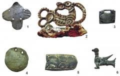 Находки из цветного металла (1, 3–6), в сочетании с железом (2 — кресало) из погребений и жертвенного комплекса.
