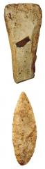Находки со стоянки: каменные тесло, наконечник.